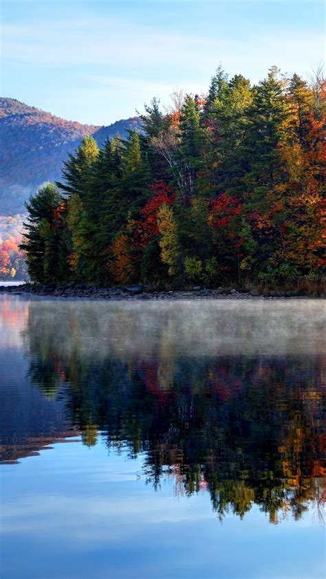 Morning autumn in the Green Mountain National Forest in