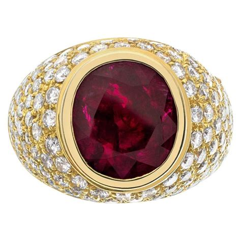 Large Oval Ruby Ring With White Diamonds in 18k Gold