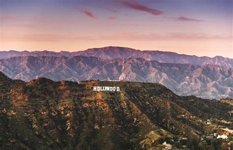 Aerial view of the Hollywood sign at dusk - Hallins