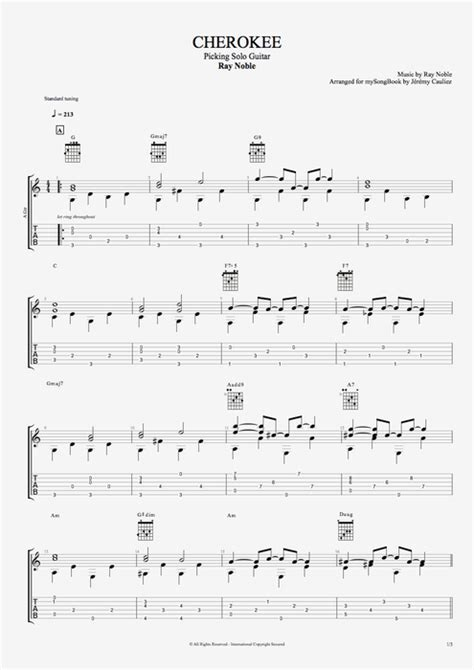 Cherokee by Ray Noble - Picking Solo Guitar Guitar Pro Tab