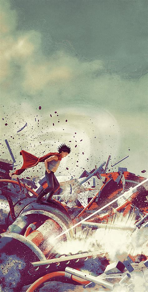 Kaneda Fires at Tetsuo in Awesome AKIRA 2-Piece Art Set