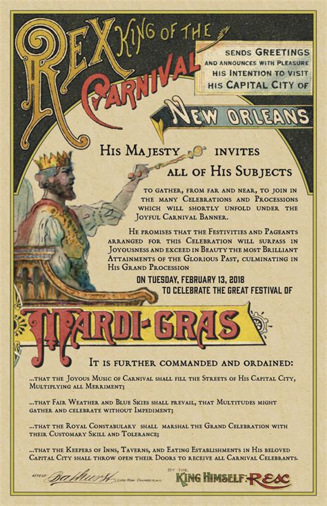 Rex, King of Carnival Issues Royal Edict Announcing New