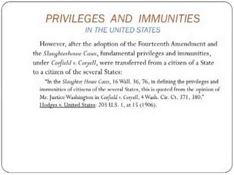PRIVILEGES AND IMMUNITIES _ IN THE UNITED STATES