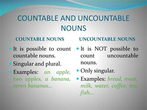 PPT - COUNTABLE AND UNCOUNTABLE NOUNS PowerPoint