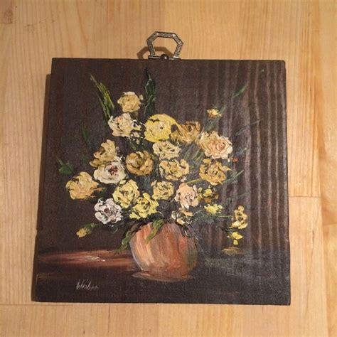 Signed Floral Flower Bouquet Oil Painting on Wood Block
